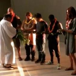 Dwayne Johnson and crew receive blessing (c) Instagram