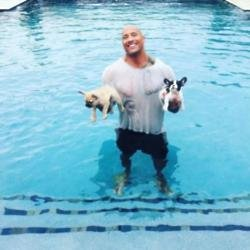 Dwayne Johnson with his dogs Hobbs and Brutus