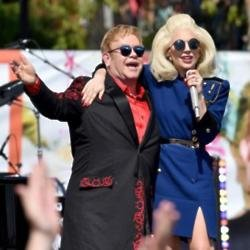 Elton John performs live on the Sunset Strip as a thank you to the City of West Hollywood for their support of the Elton John AIDS Foundation.  The co