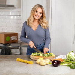 Emily Atack making a HelloFresh meal