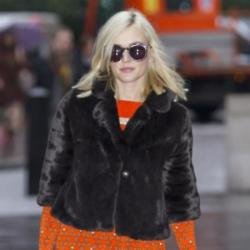 Fearne Cotton keeps warm in a faux-fur jacket