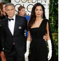 George Clooney and wife Amal at the Golden Globe awards