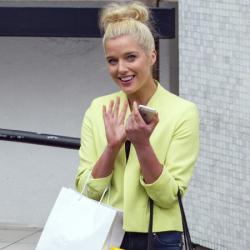 Helen Flanagan brightens up her outfit with a jacket
