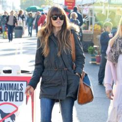 Jessica Biel keeps warm with her fur lined parka