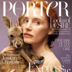 Jessica Chastain on the cover of PORTER magazine