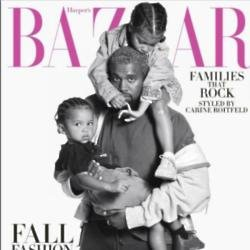 Kanye and kids on Harper's Bazaar magazine
