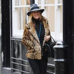 Kate Moss looks chic in her leopard blazer