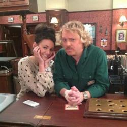 Keith Lemon with Michelle Keegan on the Coronation Street set
