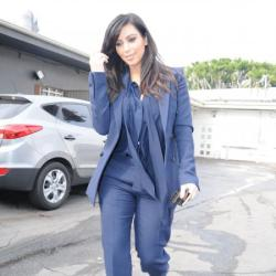 Kim Kardashian looks chic in navy