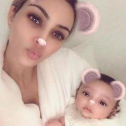 Kim Kardashian West and her daughter Chicago