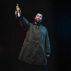 Liam Gallagher with his NME Godlike Genius Award (c) Danny North