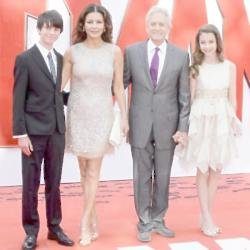 Catherine Zeta-Jones with her family