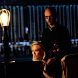 Moby and Louise Linton filming Intruder