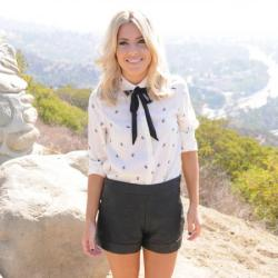 Mollie King works the latest must-have trend, leather