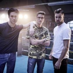 Oliver Proudlock (centre) with Joey Essex and Chris Hughes filming their tongue twister advert