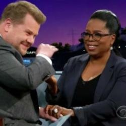 Oprah Winfrey and James Corden