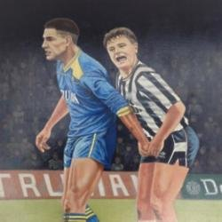 Painting of Vinnie Jones and Paul Gascoigne