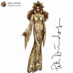 Peter Dundas' sketch of Beyonce's 2017 Grammy Awards gown (c) Instagram