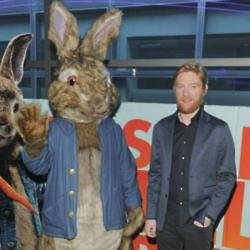 Peter Rabbit mascot and Domhnall Gleeson