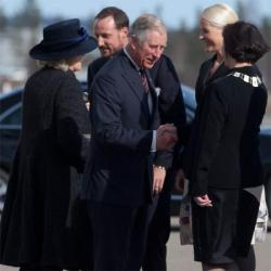 Prince Charles and Camilla, Duchess of Cornwall, arrive in Olso, Norway, on the first day of their Norwegian tour