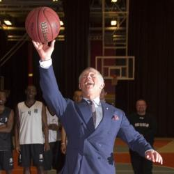 Prince Charles playing basketball in Sweden