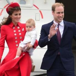 Prince George with Prince William and Duchess Catherine