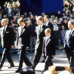 Prince Philip, Prince William, Earl Spencer, Prince Harry and Prince Charles at the funeral