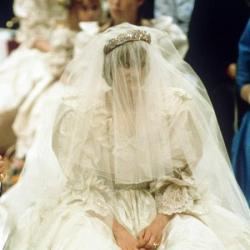 The late Princess Diana on her wedding