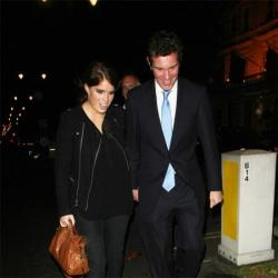 Princess Eugenie and Jack Brooksbank leaving the Beulah London and Hennessy Gold Cup launch party