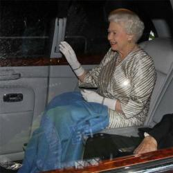 Queen Elizabeth leaving the 100th Royal Variety Performance