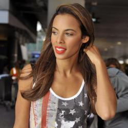Rochelle Humes matches her lipstick to her vest