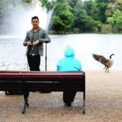 Russell Kane taking part in the Barclaycard Unwind Smile Experiment