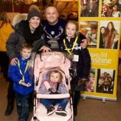Sam Bailey with her family at Lapland UK