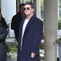 Simon Cowell at Lenox Hill Hospital awaiting the arrival of his baby