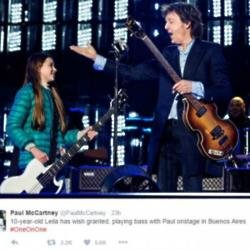 Sir Paul McCartney and fan Leila on stage (c) Twitter