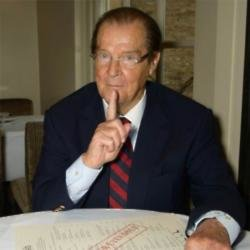 Sir Roger Moore at book signing