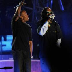 Snoop Dogg and Dr Dre on stage at Coachella