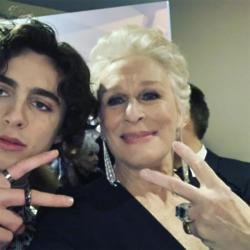 Timothee Chalamet and Glenn Close