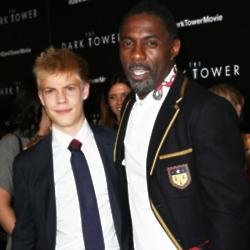 Tom Taylor with 'The Dark Tower' co-star Idris Elba