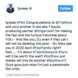 Tyrese Gibson's Instagram (c) post