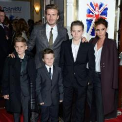 David and Victoria Beckham with Brooklyn, Romeo and Cruz