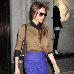 Victoria Beckham's makes a statement in the bold hue