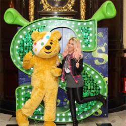 'X Factor' finalist Amelia Lily joins Pudsey Bear at 'Shrek The Musical' at  Theatre Royal Drury Lane on Catherine St, to celebrate her collaboration
