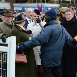 Zara Phillips disagreeing with a security guard Cheltenham racecourse