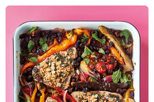 Chermoula roasted tuna recipe with peppers, chickpeas and raisins