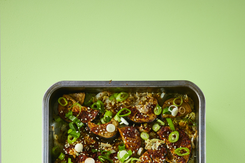 Korean-style aubergines with spring onions and sesame rice recipe