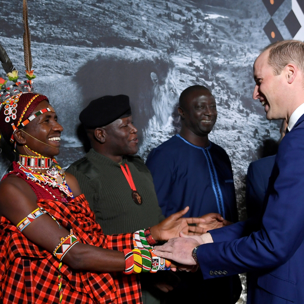 Award finalist Jeneria Lekilelei is congratulated by the Duke of Cambridge during the 2019 Tusk Conservation Awards at the Empire Cinema in Leicester Square, London (Toby Melville/PA)
