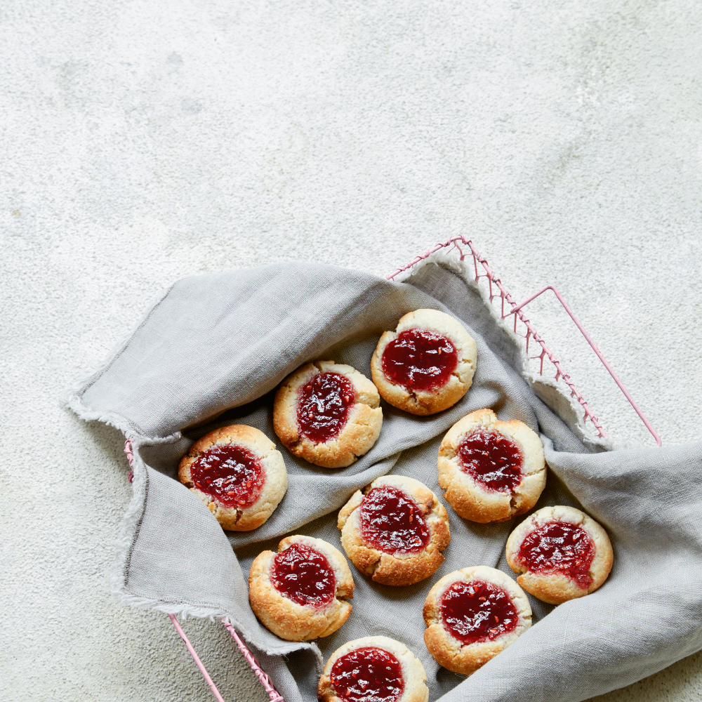 Jammy Thumbprint Cookies from 6-minute Showstoppers by Sarah Rainey (Michael Joseph/Clare Winfield/PA)