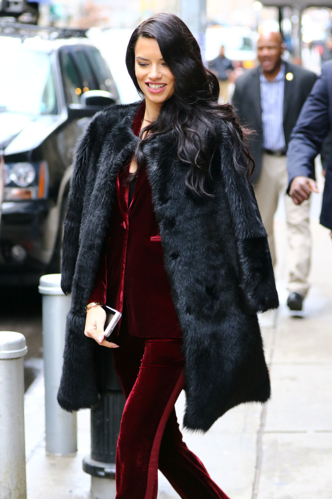 Adriana Lima in classic black faux fur