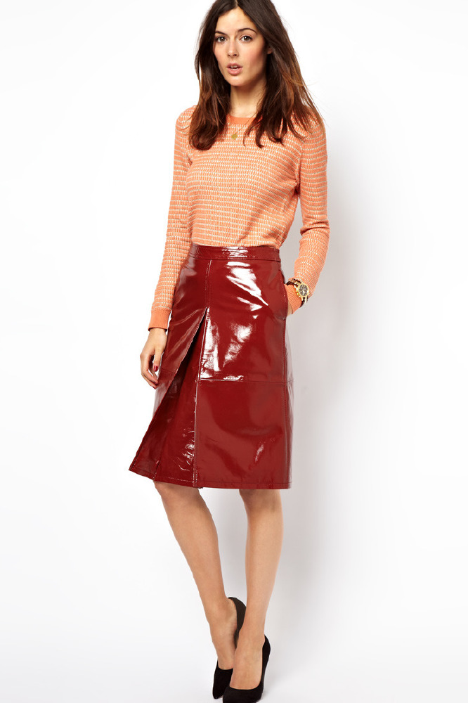 asos a line midi skirt in patent leather or